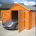 wooden garages, metal garages for use also as heavy duty sheds