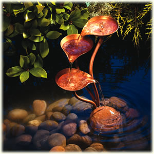 Solar Powered Garden Water Features   The Copper Cascade